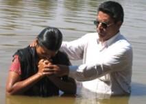 Baptising a new convert in Andhra Pradesh.