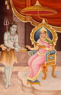 Annapurna Devi giving alms to Shiva