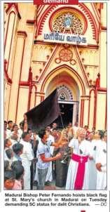 Madurai bishop & black flag protest against caste discrimination within the Church (11 August 2010)