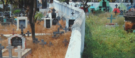 Caste-segregated Christian graveyard in Tamil Nadu: Dalits are buried on the left side of the wall, caste Christians on the right.