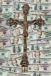 Crucifix on dollar notes