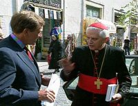 The Ratzinger Slap: Ratzinger slaps reporter Brian Ross when asked about a priest molesting children.