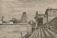 Sacred tank and pagoda at Chillambaran, India ca. 1870