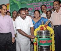 Mylapore MLA R. Rajalakshmi, Secretary HR & CE M. Rajaram (second from left) and HR & CE Commissioner M. Kalaivanan (right).