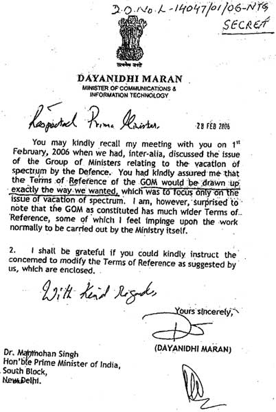 Dayanidhi Maran's to letter Manmohan Singh