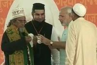 Modi with imams & Xian priest Gandhinagar