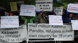 Kashmiri Pandits protest their exile from Kashmir.
