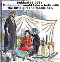 Prophet Mohammad and his seven year old wife Aisha.