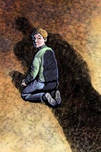Boy under the shadow of a Catholic priest.