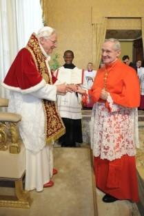 Pope Benedict XVI greets Cardinal Tauran