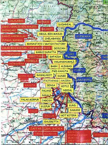 Map of secret terrorist training camps in Pakistan