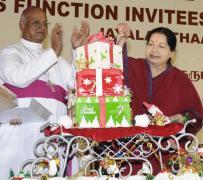 Tamil Nadu Chief Minister Jayalalithaa & Archbishop A.M. Chinnappa