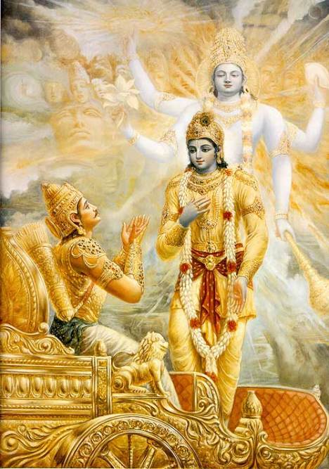 Sri Krishna showing his vishvarupa to Arjuna