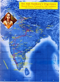 Adi Shankara's digvijaya route across India.