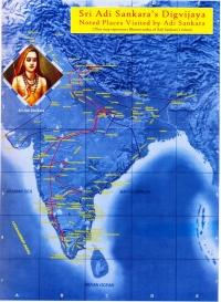 Adi Shankara's digvijaya route across India.