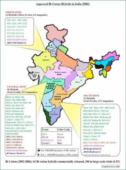 Map of GM crops in India