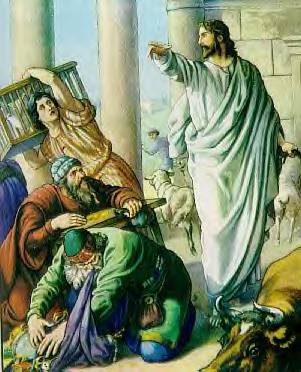 Angry Jesus drives the vendors out of the temple. According to Dr. Aslan, this is a key moment in the life of zealot Jesus.