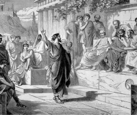 Apostle Paul preaching on Mars Hill at the Areopagus in Athens.