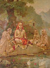 Adi Shankaracharya with disciples.