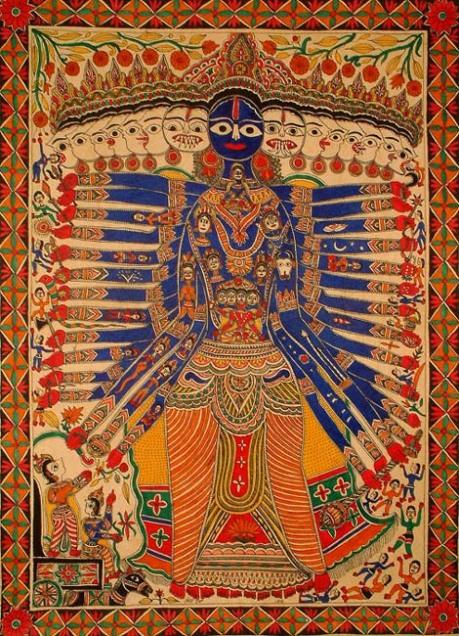 Sri Krishna Vishwarupa: Madhubani painting.