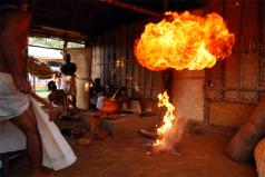 Namboodiris performing the Athirathram yagna at Panjal, Kerala.