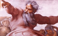 "Jehovah: Angry sky god of the Jews and ""father"" of Jesus (Michelangelo)"
