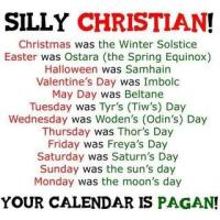 Christian calendar is Pagan!