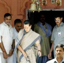 Sonia Gandhi at Tirumala in 2006.