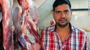 Nadeem Qureshi, 37, in his butchers shop in Nizamuddin.