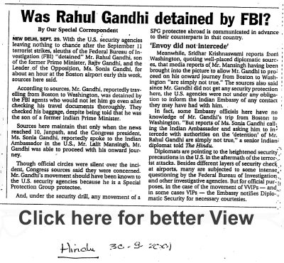 Was Rahul Gandhi detained by FBI?