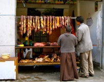 Buddhist at the butcher shop