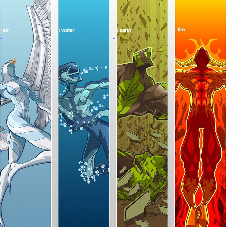 Five Elements Of Art : Four elements plus one the space between images