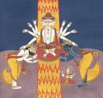 Mahavishnu creating Vishnu and Prajapati (Hiranyagarbha)