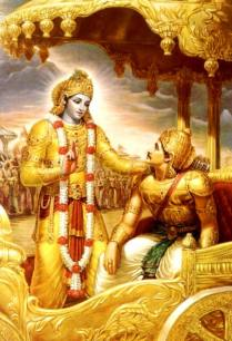 Sri Krishna teaching Arjuna