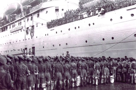 British troops leaving India in 1947.