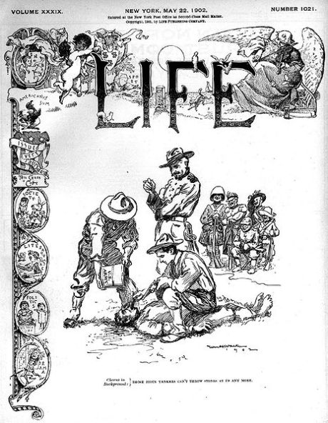 Waterboarding on the Life magazine cover for 05-22-1902. The American army learned waterboarding from the Catholic Church and used it in subduing the Philippines in 1898.