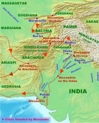 Alexander's route into India and out again.