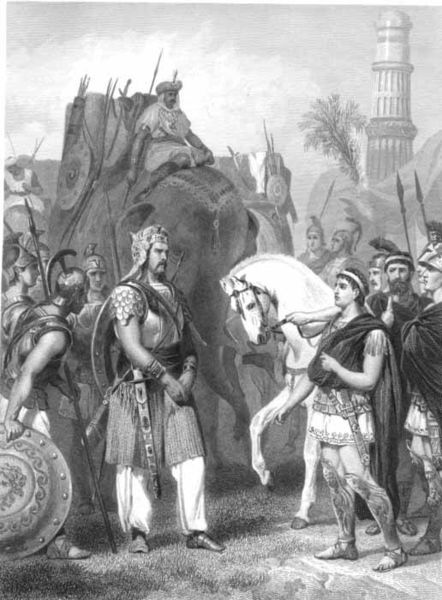 King Porus (Puru) & Alexander at the Battle of Hydaspes (Jhelum)