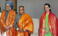 Manmohan Singh, Pranab Mukherjee, and Sonia Gandhi