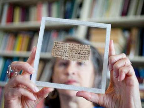 Karen King with 4th century Coptic papyrus