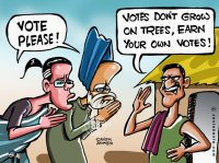 Manmohan Singh & Sonia-G seeking votes.
