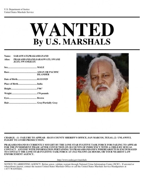 Wanted Poster for Prakashand Saraswati
