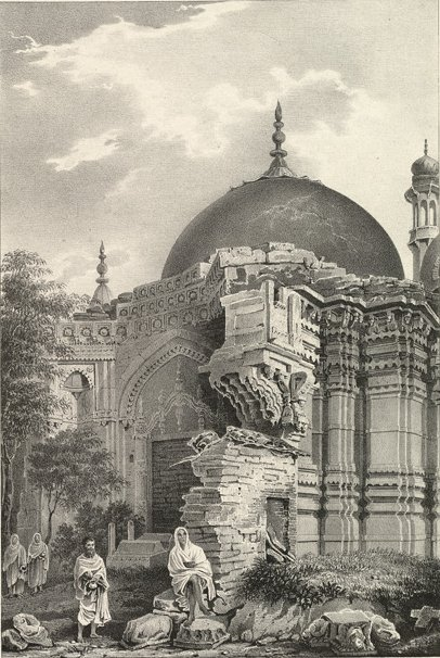Kashi Vishwanath Temple replaced by Aurangzeb's Gyanvapi Mosque, Varanasi. Drawing by James Prinsep 1834.