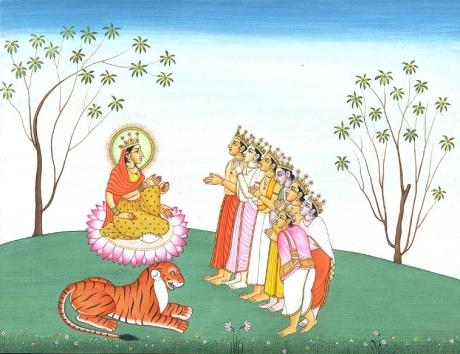 Gods venerate Mahalakshmi