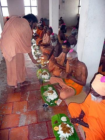 Sadhu feeding