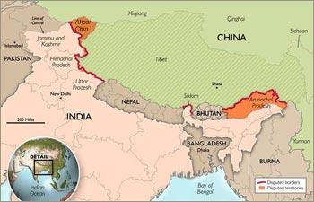 Chinese map including Aksai Chin and Arunachal Pradesh in Chinese territory
