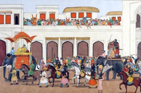 Prince Dara Shukoh (undecorated elephant on right) paraded in public before being executed by his younger brother Aurangzeb.