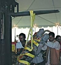 Image being prepared for the prana pratishta ritual