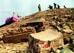 Temporary Ram temple on the Babri Masjid site after the demolition.