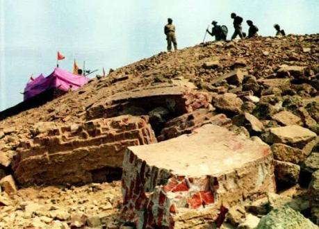 Ramlalla Temple on the Babri Masjid site after the demolition.